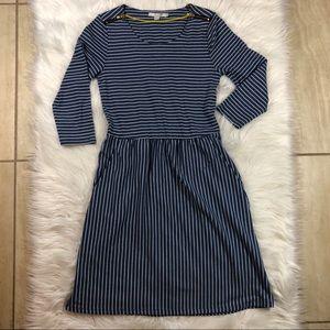 Boden Fit and Flare white Stripe Dress Size 6R